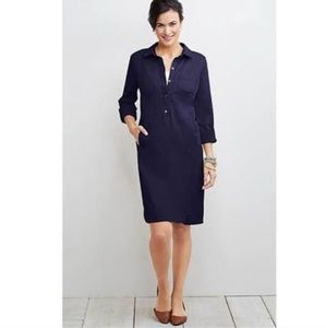 J Jill Navy Live in Chino Khaki Shirt Dress